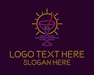Lounge - Neon Light Martini logo design
