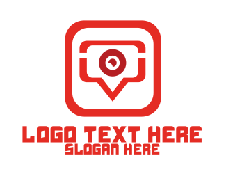 Video Call - Red Video Chat App logo design