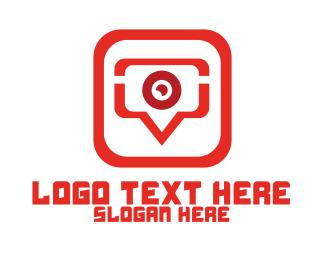 Webcam - Red Video Chat App logo design