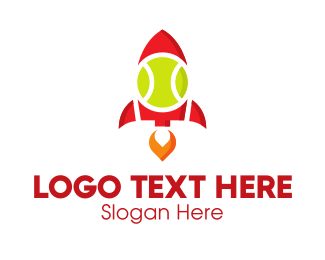 Spacecraft - Tennis Ball Rocket logo design
