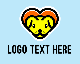 Animal Clinic - Cute Heart Dog  logo design