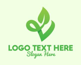 Fertilizer - Green Natural Leaf Letter V logo design