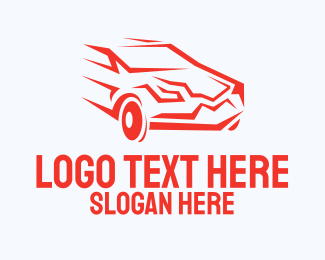 Fast Car - Fast Red Car logo design