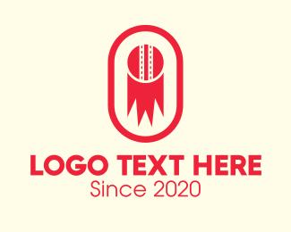 Strike - Red Cricket Ball logo design