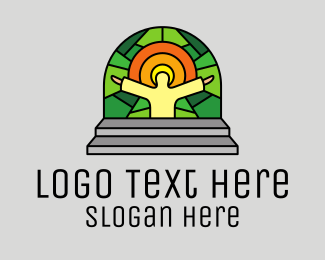 Church Window - Church Worship Mosaic logo design