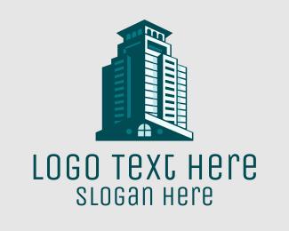 Agent - Elegant Teal Building  logo design