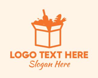 Food Delivery - Grocery Delivery Box logo design