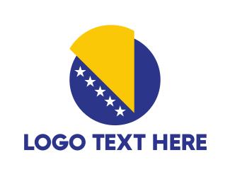 Denmark - Bosnia & Herzegovina Flag logo design