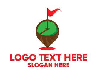 Red Flag - Golf Hole Flagstick Pin logo design