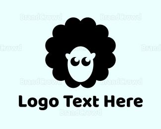 Sheep - Cute Black Sheep logo design