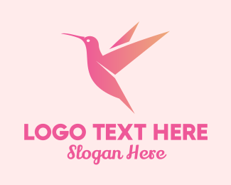 Beauty Vlog - Gradient Pink Hummingbird logo design