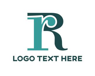 Serif - Blue Letter R logo design