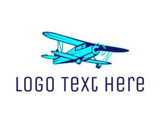 Crop Duster - Blue Vintage Airplane logo design