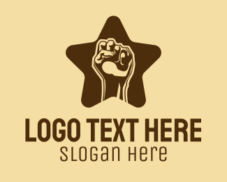Blm Movement - Raised Fist Star  logo design