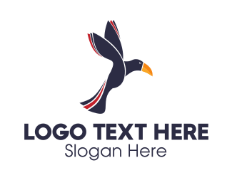 Toucan Bird - Flying Toucan logo design