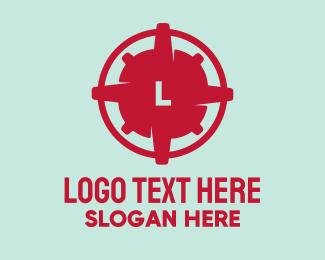 Explosive - Red Compass Lettermark logo design