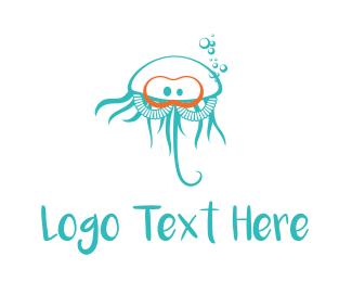 Swim - Diver Jellyfish logo design