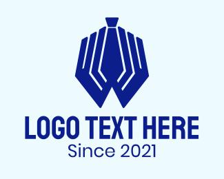 Recruiter - Blue Hand Tie logo design