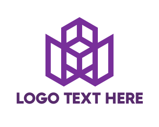 Hexa - Violet W Polygon  logo design