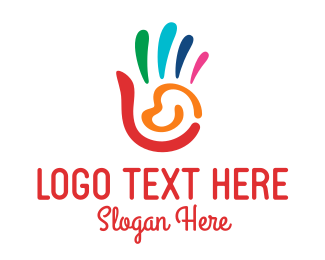 Orphanage - Colorful Handprint  logo design
