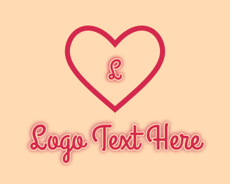 Online Dating - Red Heart Romantic Letter logo design