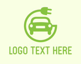Green Electric Car Logo