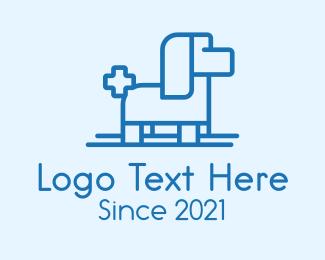 Ski - Dog Ski Cross Outline logo design