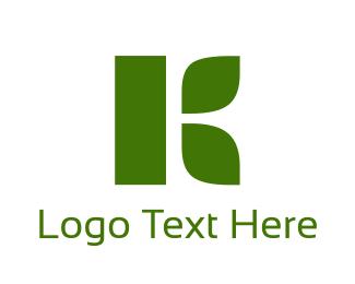 Turf - Organic Green Letter K logo design