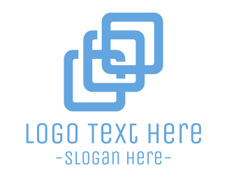 Linked - Blue Square Chain logo design