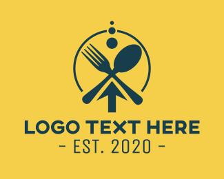 Food Vlog - Modern Dining Cutlery logo design