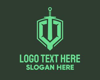 Twitch - Shield Sword Emblem logo design