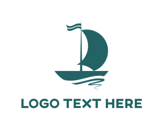 Yacht - Blue Sailboat logo design