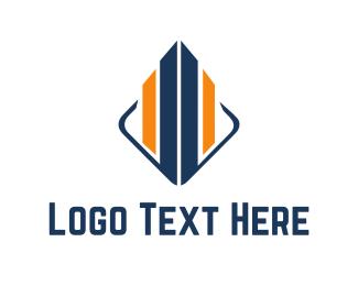 Skyscraper - Blue & Orange Building  logo design
