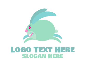 Rabbit Head - Jumping Bunny Rabbit  logo design