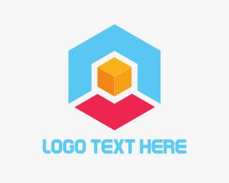 3d Printing - Hexagon Box Cube logo design