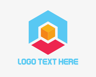 3d - Hexagon Box Cube logo design