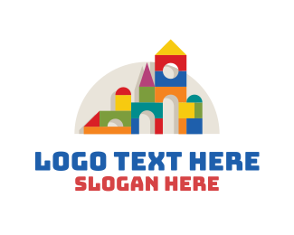 Wooden - Colorful Wooden Toy Blocks logo design