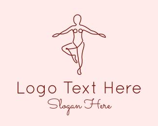 Fitness - Female Body Doodle logo design