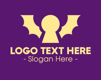 Vampire - Yellow Bat Keyhole logo design