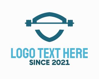 Gymnasium - Weights Fitness Training Gym Shield logo design