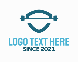 Exercise - Weights Shield logo design