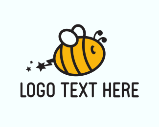 Yellow Insect - Electric Bee logo design