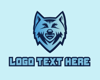 Wolf Head - Blue Wolf Mascot  logo design