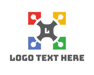 Printing Company - Colorful Puzzle Lettermark logo design