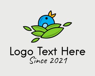 Finch - Bird Hatchling Leaves logo design