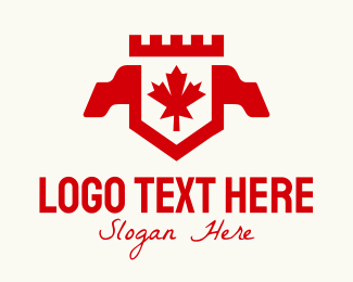 Ontario - Red Canadian Maple Crest Banner logo design