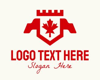 Maple - Red Canadian Maple Crest Banner logo design