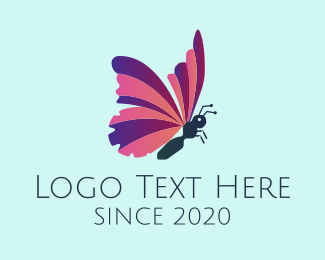 Pink Insect - Pink & Purple Butterfly  logo design