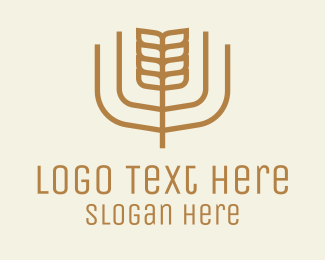 Rice - Brown Minimalist Wheat logo design