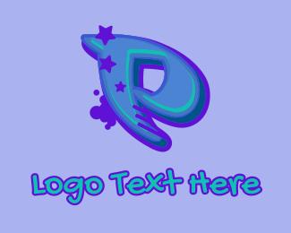 Record Producer - Graffiti Star Letter P logo design